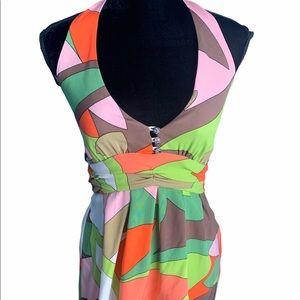 LaRok embellished silk top halter multi co…